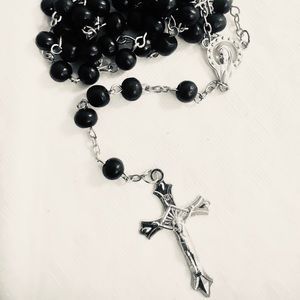 Black Rosary Necklace Prayer Beads Christian